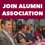 "CSUDH alumni on a panel with the text ""Join Alumni Association"" above."