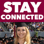 "CSUDH student at graduation with the text ""Stay Connected"" above."
