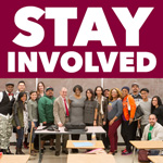 "CSUDH alumni with the text ""Stay Involved"" above."