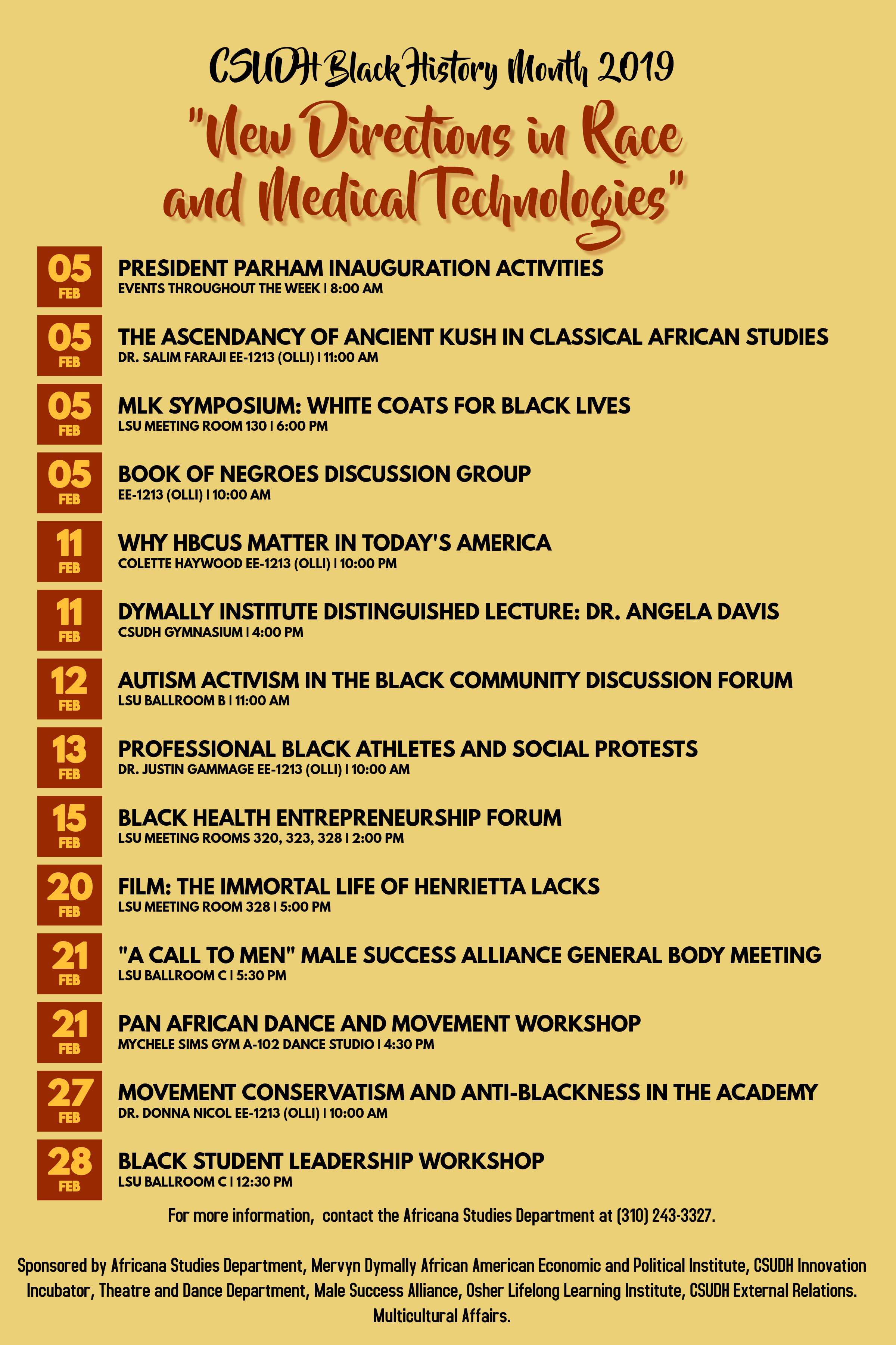 Black History Month Calendar of Events 2019