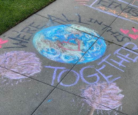 Chalk message: We are all in this together