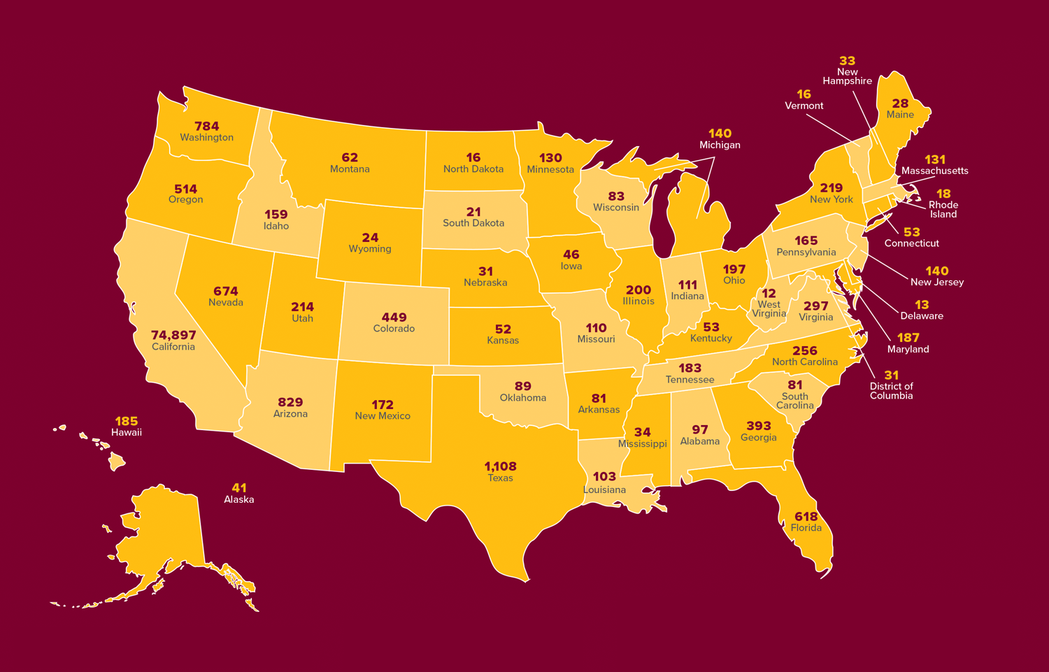 Map of alumni counts across US states