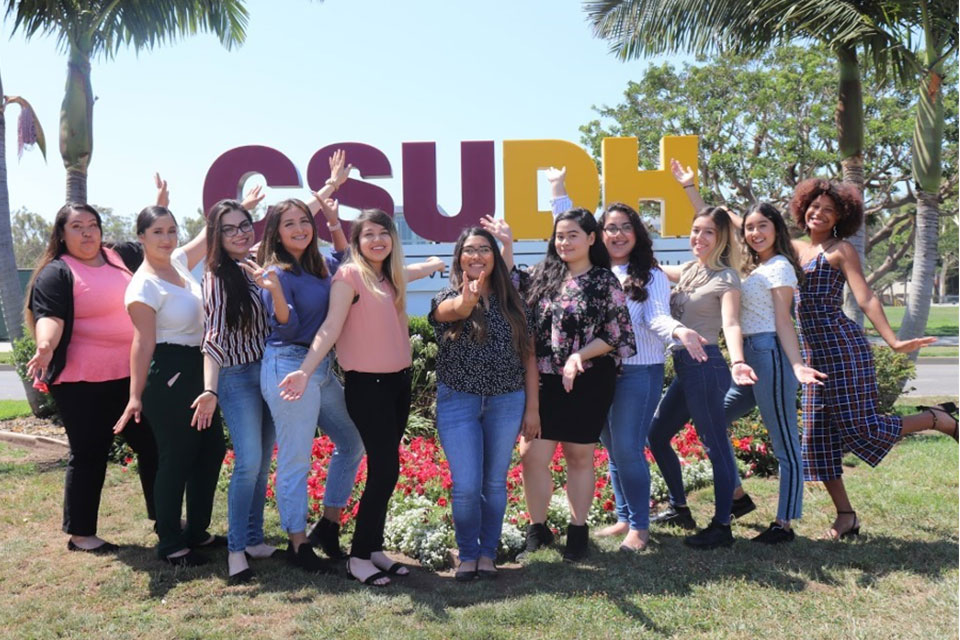 First-Year Peer Coaches in front of CSUDH campus