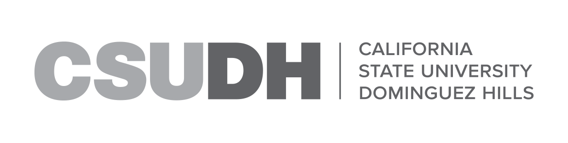 CSUDH grayscale horizontal logo on white background