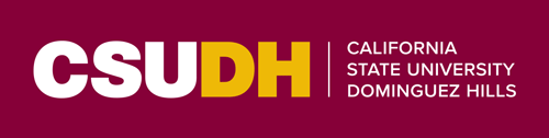 CSUDH colored horizontal logo on burgundy background