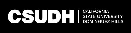 CSUDH white horizontal logo on dark background