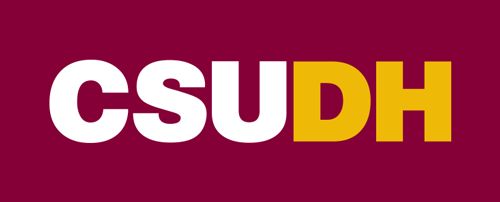 CSUDH color logo mark on burgundy background
