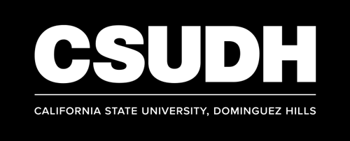 CSUDH white logo stacked with name on one line on dark background