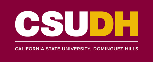 CSUDH color logo stacked with name on one line on burgundy background