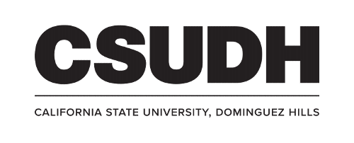 CSUDH logo stacked version with university name on one line black text on white background