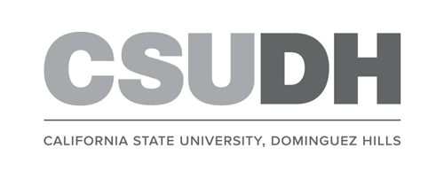 CSUDH logo stacked version with university name on one line grayscale on white background