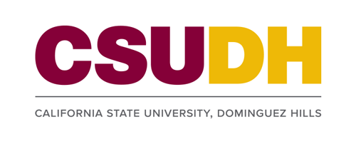 CSUDH color logo stacked with name on one line on white background