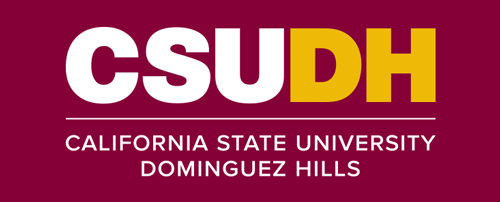 CSUDH logo stacked version with university name on two lines on burgundy background