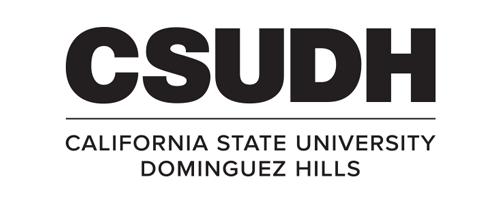 CSUDH logo stacked version with university name on two lines black text on white background