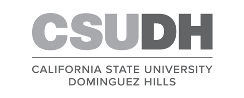 CSUDH logo stacked version with university name on two lines grayscale text on white background