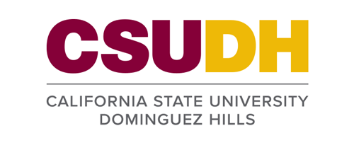 CSUDH logo stacked version with university name on two lines on white background