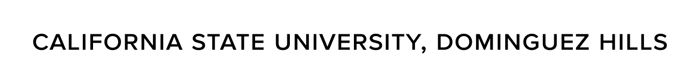 CSUDH university name in text logo, black on light background