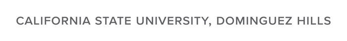 CSUDH university name in text logo, grayscale on white background