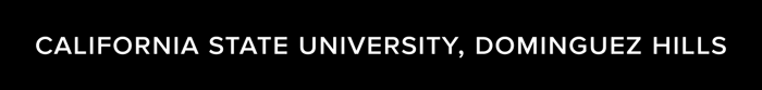 CSUDH university name in text logo, white on dark background