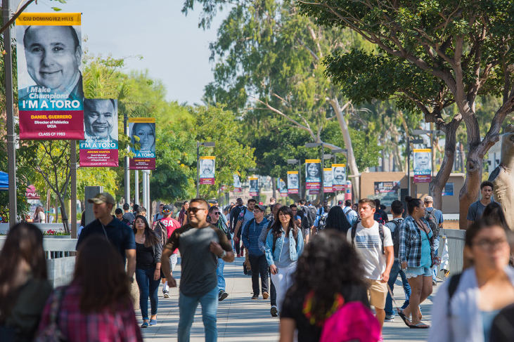 photography sample - crowd of students on csudh walkway
