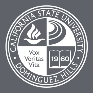 csudh seal in white on a dark background