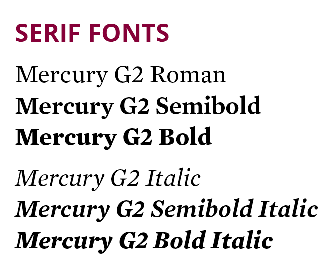 serif font Mercury at different font weights