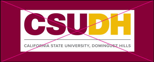 csudh logo misuse. Do not have any color block around the logo. Use transparency logo file.