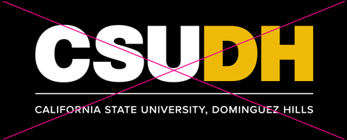 csudh logo misuse. Do not use white and yellow logo color combo on black background.