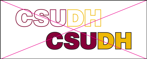 csudh logo misuse. Do not use outlines.