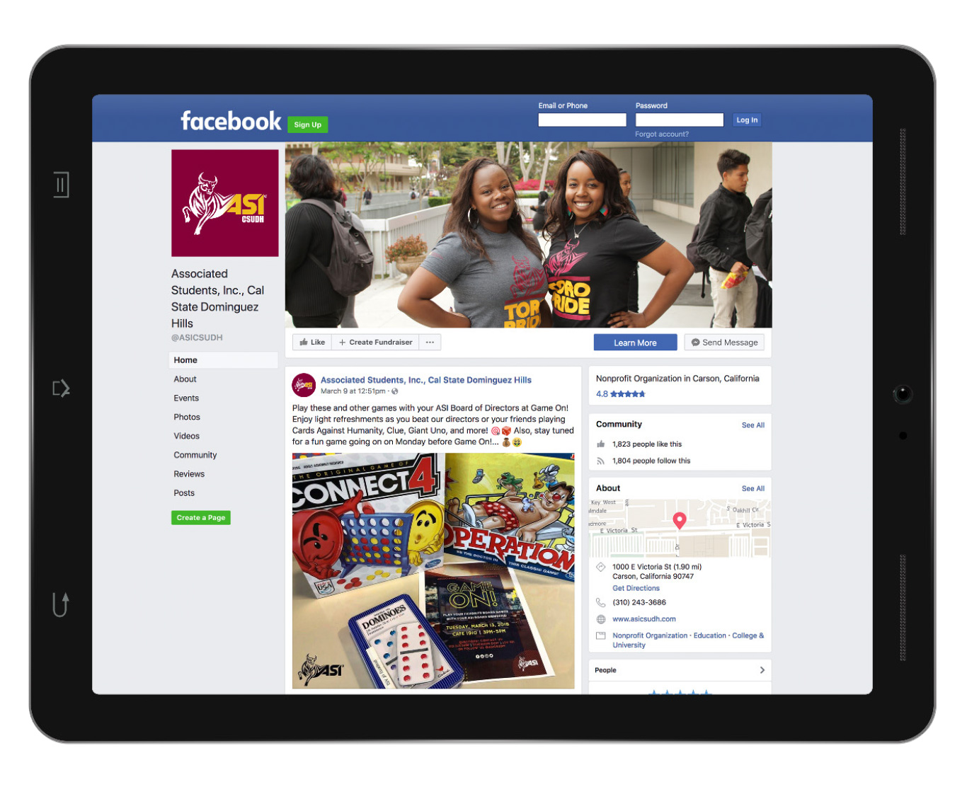 CSUDH ASI facebook page mockup on ipad