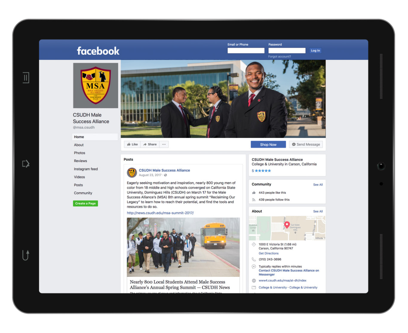 CSUDH Male Success Alliance facebook page mockup on ipad