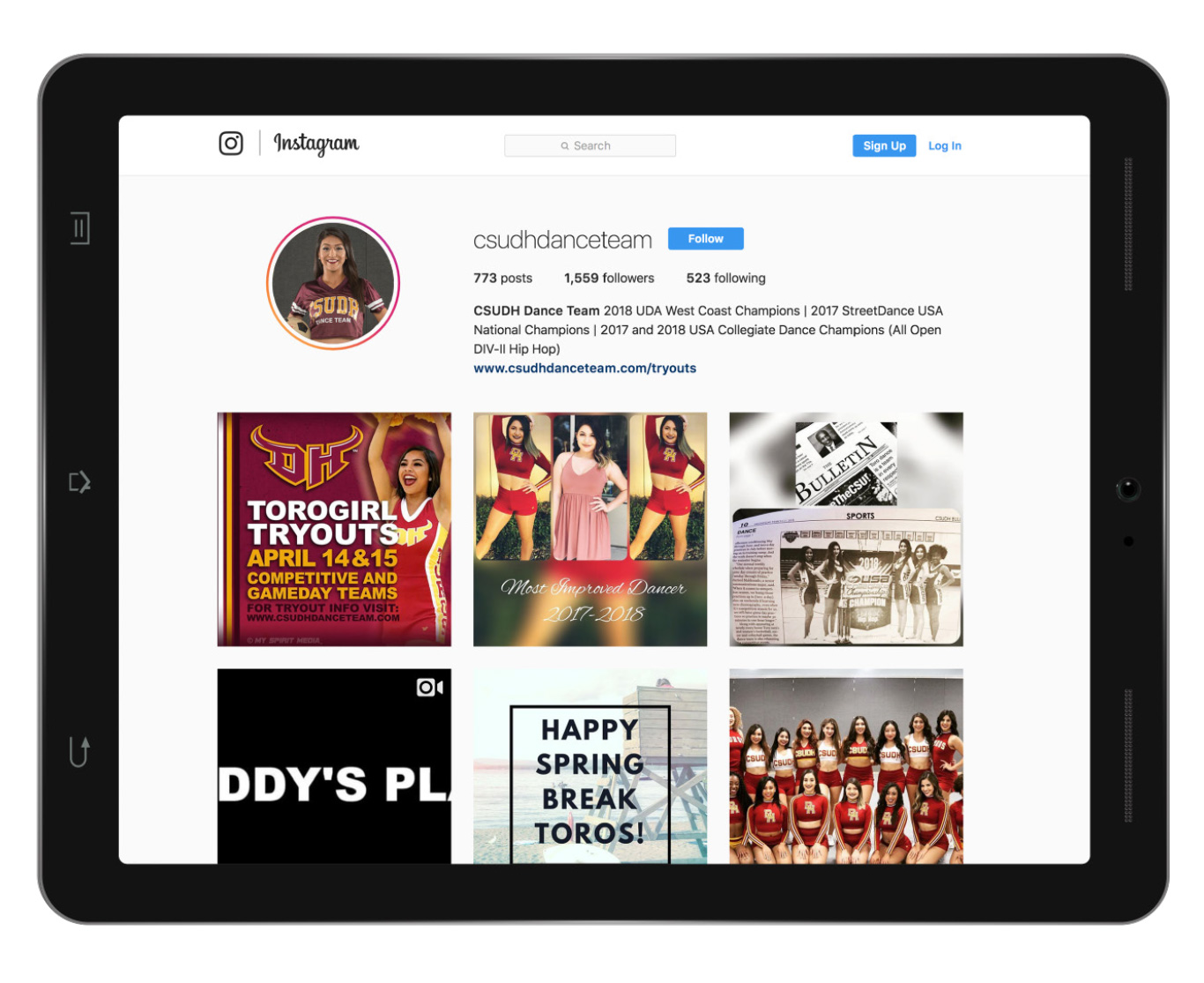 CSUDH dance team Instagram page mockup on ipad