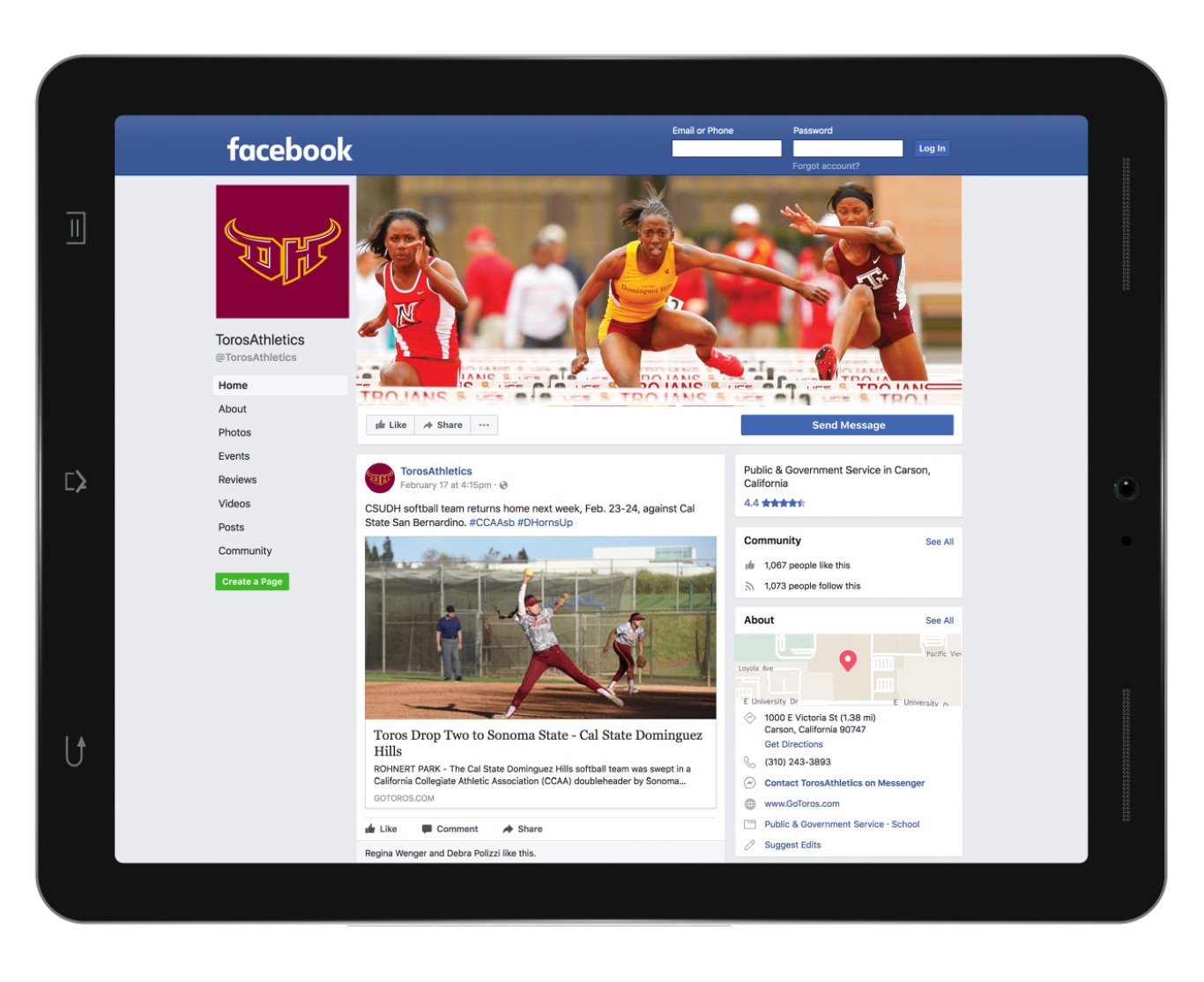 CSUDH main athletics facebook page mockup on ipad
