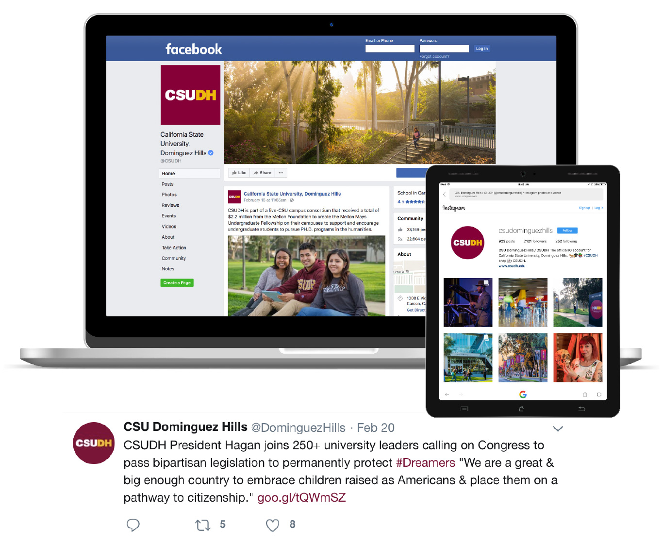 CSUDH mockups main facebook, instagram and sample twitter tweet