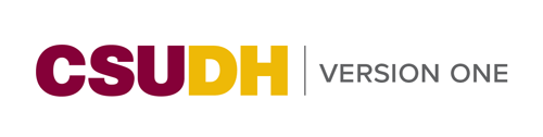 CSUDH endorsed logo one line colored text on white background