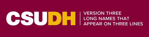 CSUDH endorsed logo three lines horizontal white and yellow text on burgundy background