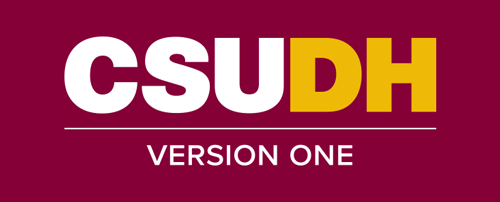 CSUDH endorsed logo stacked centered one line yellow and white text on burgundy background