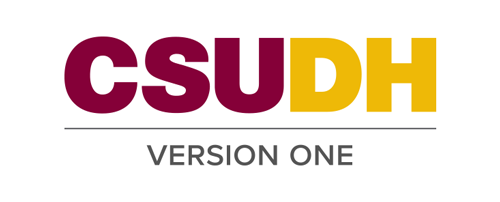 CSUDH endorsed logo stacked centered one line colored text on white background