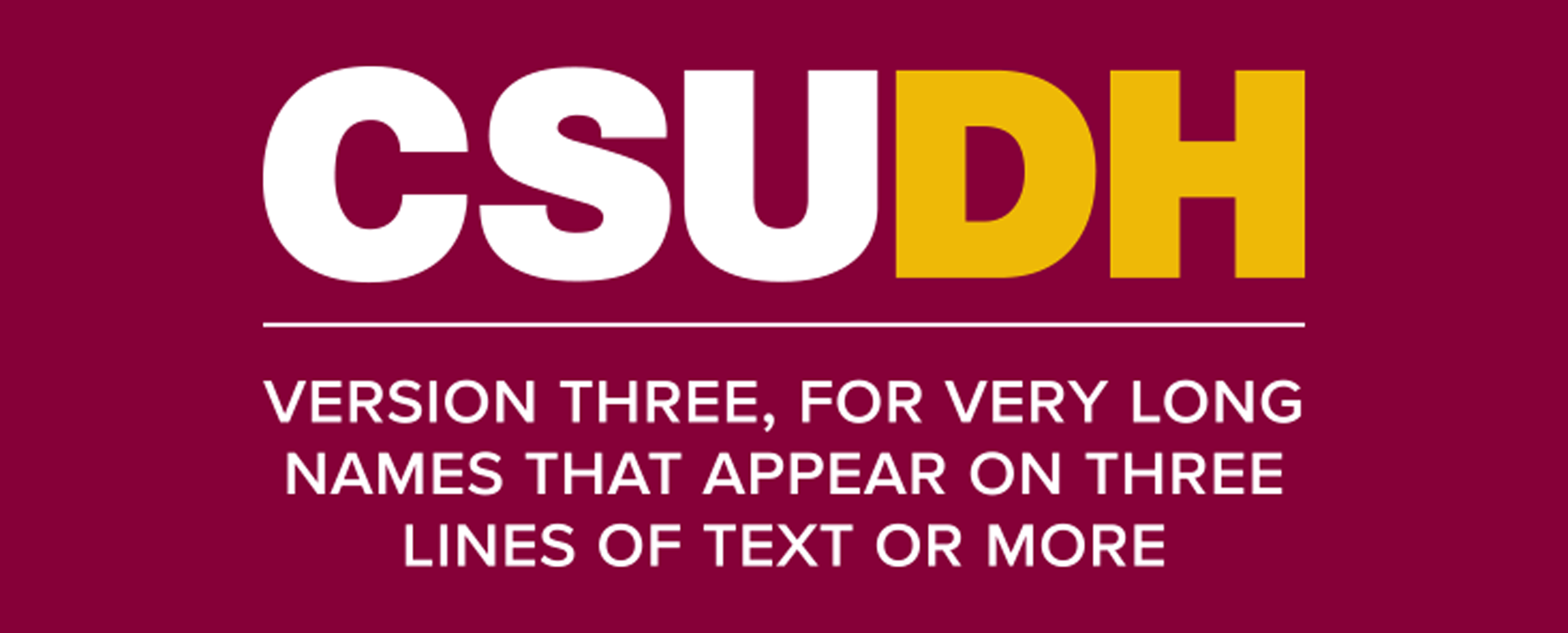 CSUDH endorsed logo stacked centered three lines white and yellow text on burgundy background