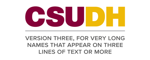 CSUDH endorsed logo stacked centered three lines colored text on white background