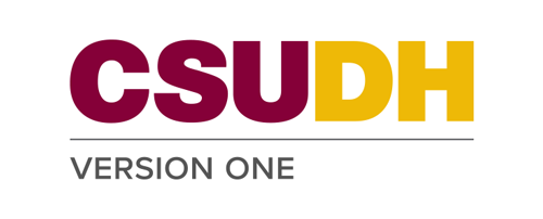 CSUDH endorsed logo stacked left aligned 1 line colored text on white background