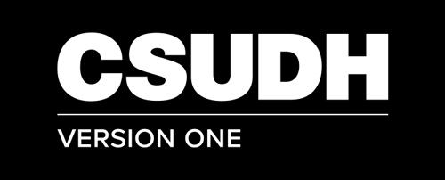 CSUDH endorsed logo stacked left aligned 1 line white text on black background