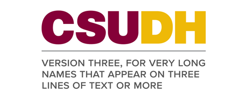 CSUDH endorsed logo stacked left aligned 3 lines colored text on white background