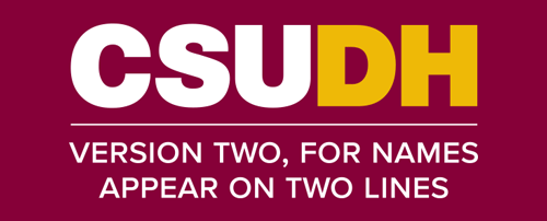CSUDH endorsed logo stacked centered two lines white and yellow text on burgundy background