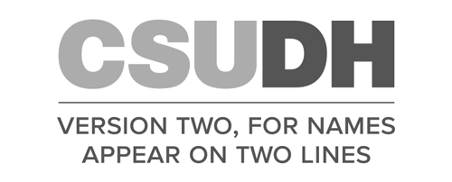 CSUDH endorsed logo stacked centered two lines grayscale text on white background