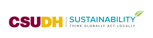 CSUDH co-branded logo example. CSUDH Sustainability - horizontal with tagline