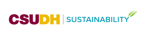 CSUDH co-branded logo example. CSUDH Sustainability - horizontal