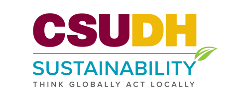 CSUDH co-branded logo example. CSUDH Sustainability - stacked with tagline