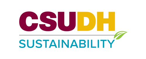 CSUDH co-branded logo example. CSUDH Sustainability - stacked