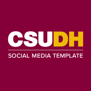 CSUDH social media icon example text on one line